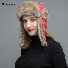Reindeer Hats Australia - Gours Women Fur Hats Winter Thick Warm Ears Faux Fur Russian Ushanka Hat Fashion Knitted Bomber Caps Reindeer New Arrival GLH031 D19011503