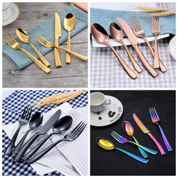 Fork kniFe spoon tool online shopping - 5pcs set Cutlery Set Stainless Steel Silverware Flatware Set Dining Cutlery Forks Knives Spoons Kitchen Tools OOA7086