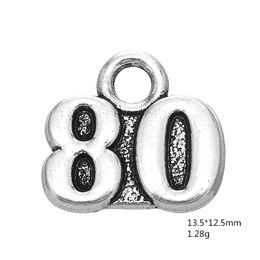 Cheap Number Plates Australia - Fishhook 20pcs Wholesale Cheap Metal Alloy Number 78-96 Vintage Diy Charm for Women Bracelet and Necklace Jewelry