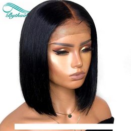 brown straight wig part UK - I Bythair Short Bob Silky Straight Peruvian Human Hair Full Lace Wigs Baby Hairs Pre Plucked Natural Hairline Lace Front Wig Bleached K