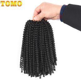 Discount short ombre hair extensions - TOMO 8inch Short Crochet Braids Ombre Hair Braiding Black brown Spring Twist Kanekalon Synthetic Hair Extensions Braids