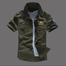 $enCountryForm.capitalKeyWord Australia - Men's Shirt Airforce Uniform Military Shorts Slim Fit Camisa Masculina Khaki Army Green Men's Shirt Y19071301