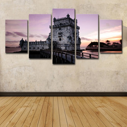 $enCountryForm.capitalKeyWord NZ - (Only Canvas No Frame) 5Pcs Retro Europe Lighthouse Castle Landscape Wall Art HD Print Canvas Painting Fashion Hanging Pictures