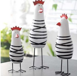 Carved Wood Gifts Australia - Home Decorative Craft 3pcs Little Happy Chicken Family Set Wood Chicken Decoration Figurine Miniatures Ornaments Gift