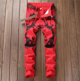 Wholesale cheap Digital printing jeans men biker jeans men trousers male denim pants masculino motorcycle fashion elastic force red