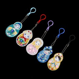 $enCountryForm.capitalKeyWord Australia - New Special Shaped Diamond Painting Cartoon Keychain Handmade Russian doll Children's bags Zipper Women Bags Pendant decoration
