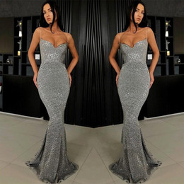 1dbc5f668c 2019 Sexy Dark Gray Prom Dresses Full Sequins Spaghetti Straps Mermaid Long Evening  Gowns Plus Size Custom Made Pageant Dress BC0274