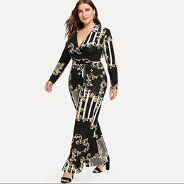 $enCountryForm.capitalKeyWord Australia - Plus Size Mixed Print Wrap Jumpsuit Women Milk Silk Soft Wide Leg Pant Lace Up Sexy V-neck Long Sleeve Jumpsuits For Female 3xl MX190726