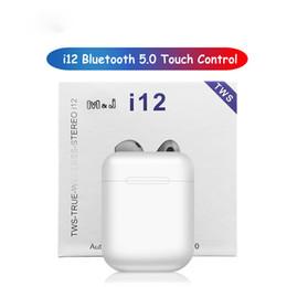 Discount super mini wireless bluetooth headset - i12 TWS Mini Twins Bluetooth Headphones 5.0 Earphone Sports Sweatproof True Wireless Touch Earbuds Super Stereo Bass Bin