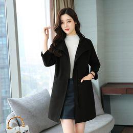$enCountryForm.capitalKeyWord Australia - Casual Slim Long Wool Blend Ladies Coat Zipper Women's Jacket Turn-down Collar Pockets Korean Womens Fashion Coat