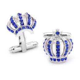 $enCountryForm.capitalKeyWord Australia - Crystal Crown Cufflinks men women gold silver banquet business suit skrit sleeve Cuff links fashion Jewelry valentine's day gift