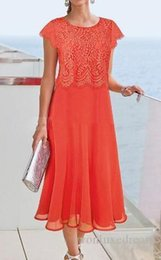mother groom evening gowns Australia - Orange Tea Length Mother of the Bride Dresses Lace Chiffon Cap Sleeve Column 2019 Short Mother of the Groom Dress Evening Party Gowns