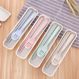 cutlery wedding gifts 2019 - Portable Wheat Straw Cutlery Set Outdoor Travel Reusable Chopstick Fork Spoon Flatware Set Useful Wedding Gifts TTA369 d