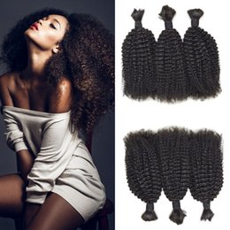 $enCountryForm.capitalKeyWord Australia - Brazilian Hair Afro Kinky Curly Bulk Hair Natural Color No Weft 8-26 Inch For Black Women No Tangle No Shedding LaurieJ Hair