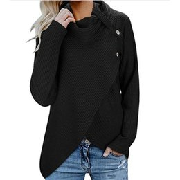 Wholesale pullover tunic online – oversize Winter Long Sleeve Women Sweater Button Cowl Neck Knitted Pullover Pullovers Tunic Fashion Casual Sweaters
