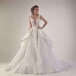 China Sheer Deep V Neck A-Line Wedding Dresses Applique Lace Ruffle Backless Sweep Train 2019 Lebanon Wedding Dress Bridal Gown cheap lebanon wedding dress suppliers