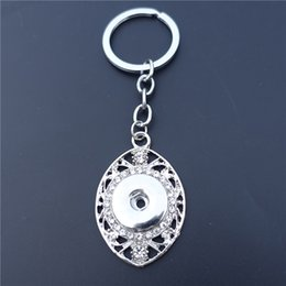 Black Button eyes online shopping - 18mm Snap Buttons Socket Keychain Hollowed Out Horse Eye Teardrop Crystal Rhinestone Metal Keyring Pieces