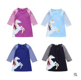 5944a1bf6 Discount best brand baby clothes - Kids Clothing Girls Dress Unicorn Cotton  Kids Baby Striped Dress