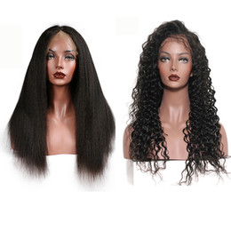 indian deep wave wigs 2019 - Lace Frontal Wigs with Baby Hair Deep Wave Kinky Straight Hair Mongolian 100% Human Hair 150% Density Natural Color 8-28