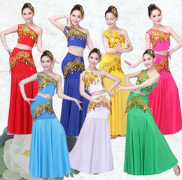 Belly Costumes Australia - 2019 Belly Dance Costume Indian Traditional Dress Peacock Women Adult Indian Bollywood Dress Fish Tail Leotard Girl Dancewear