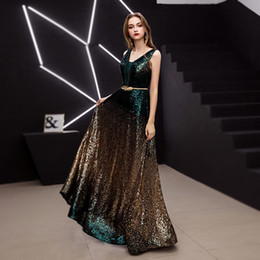 pictures cotton gowns NZ - New arrival V-neck sleeveless evening dresses prom dress Classic formal gown long lace dark green gold sequins lace-up style 2019