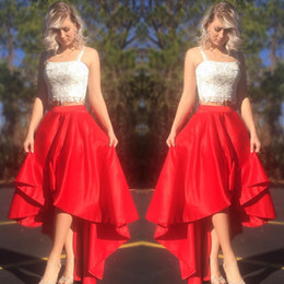 Side high low prom dreSSeS online shopping - 2020 Cute High Low Red and White Lace Prom Homecoming Dresses with Straps Satin Two Pieces Gradution Cocktail Party Dress Plus size