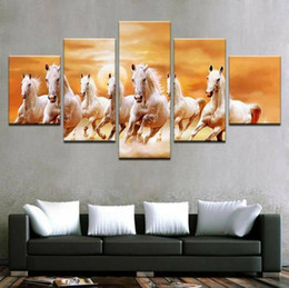 Run Horses Painting Australia - 5 piece canvas art group white horses running posters and prints canvas painting wall pictures for living room No Frame