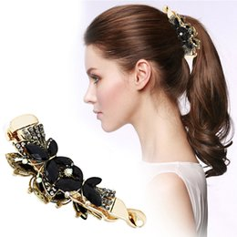 $enCountryForm.capitalKeyWord Australia - 2019 Women Fashion Banana Hair Clip Claw Holder Black Butterfly Resin Hairpin Vintage 108x31mm
