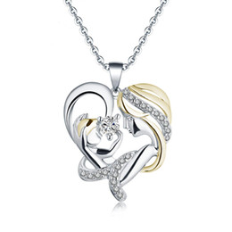 $enCountryForm.capitalKeyWord NZ - Fashion Mother's Day Silver Mosaic Zircon Necklace Crystal Mom And Kid Heart Shape Pendant Necklace