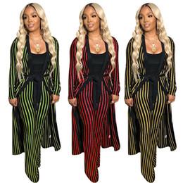 Wholesale belted cape jacket resale online - Women designer fall piece pants sweatsuit Cardigan pants outfits Cape leggings sprots suit jacket belt long outwear bodysuits stylish