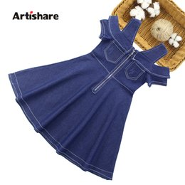 white dresses for girls casual Australia - Kids Dresses For Girls Summer Toddler Girl Dresses Casual Girls Off Shoulder Dress Newest Kids Denim Dress Girl 6 8 10 12 13 14 T191007