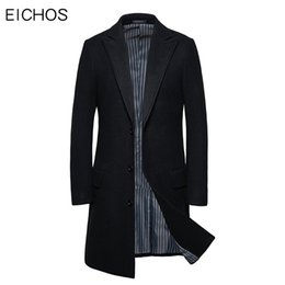 Wholesale 6xl men pea coats resale online - 6xl Plus Size Men Long Coat Autumn Winter High Quality Wool Pea Coat Male Slim Business Casual Overcoat Plus Size M XL