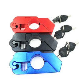 lock handlebar grips UK - Motorcycle Grip Lock CNC Safety Locks Handlebar Brake Lever Disc Locking BLACK RED BLUE