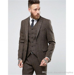 Wholesale tuxedo fabrics for sale - Group buy New Style Brown Thick Steel Tweed Fabric Man Work Business Suit Groom Wedding Tuxedos Mens Prom Party Suits Jacket Pants Vest Tie J718