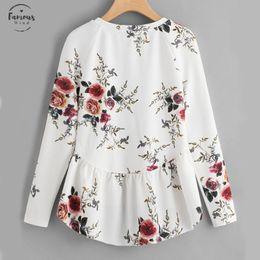 Ruffle high neck blouse online shopping - Raglan Sleeve Ruffle Dip Hem Blouse Blouse White Round Neck Floral Top Women Long Sleeve High Low Tunic