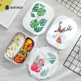 Green Box Containers Australia - WORTHBUY Japanese Color Pattern Bento Box 304 Stainless Steel Lunch Box With Compartments For Kids School Food Container Box C18112301