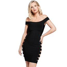 Hashupha Women Bandage Mini Dress 2019 Winter In Wholesale Sexy Club  Sleeveless Evening Party Solid Elegant Black Dresses a6a12820b