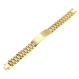 Chinese  Mens Stainless Steel Hip hop Style Link Bracelets Gold Silver Watch Band Bracelet Fashion Punk Jewelry 15mm 21mm manufacturers