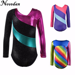 long sleeve ballet dress NZ - Kids Child Rhythmic Gymnastics Leotard For Girls Shiny Metallic Rhinestone Dance Ballet Leotard Dress Long Sleeve Gym