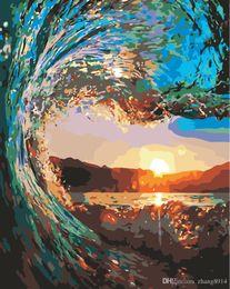Color Diy Painting Australia - 16x20 inches DIY Vintage Color Wonderland Ocean Horizon Sunrise Paint by numbers Kit Art Paintings Acrylic Oil painting on Canvas