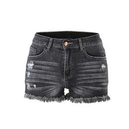 cda615c2b0 Pantalones cortos de mediana altura deshilachados y sin dobladillo sin  doblar Pantalones cortos de mezclilla Jean Pantalones vaqueros pitillo de  mujer ...