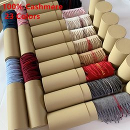 White scarf Women online shopping - With Round Tube Box Winter Unisex Top Cashmere Scarf Classic Check Scarfs Women Men Pashmina Luxury Designer Shawls and Scarves