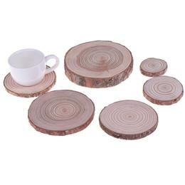 $enCountryForm.capitalKeyWord UK - 2 styles 1PCS Round Wooden Slice Cup Mat Natural Coaster Tea Coffee Mug Drinks Holder For DIY Tableware Decor Durable Size