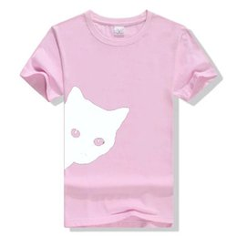 1f21403a 2019 Summer Women clothes T shirt Cotton Tees Short sleeve Cat Print Round  neck Women clothing Pink Yellow Blue XS-4XL Plus size DHL