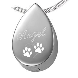 $enCountryForm.capitalKeyWord Australia - IJD8029 Pet Animal Jewelry Tear Shape Cremation Pendant with Paw Print for Dog Cats Ashes,Women Girl's Urn Keepsake for Pets
