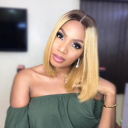 blonde bob wig dark roots Australia - 13*6 Ombre Short Bob Lace Front Human Hair Wigs For Black Women Dark Root Blonde Indian Virgin Hair Lace Frontal Wigs Pre Plucked