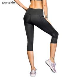 Tight White Yoga Pants Australia - Women Running Leggings Tights Calf Length Pants Women Tights Sports Fitness Pants Yoga-Pants High Waist Seamless Leggings
