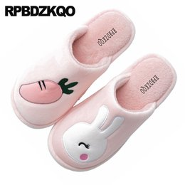 plus size leather fur 2019 - indoor rabbit suede plush ladies slipper big size slip on women bedroom shoes plus winter house animal soft cartoon slid