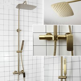 Contemporary Metal Wall Australia - Bathroom Rain Shower Set Brushed Gold And Black Solid Brass Bath Shower Faucet Quality Wall Mounted Water Mixer Bath System