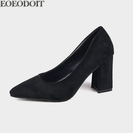 Pointy flats shoes online shopping - Designer Dress Shoes EOEODOIT Women High Chunky Heel Slip On Shallow Mouth Flock Formal Dress Pumps Pointy Toe Autumn New Arrival cm